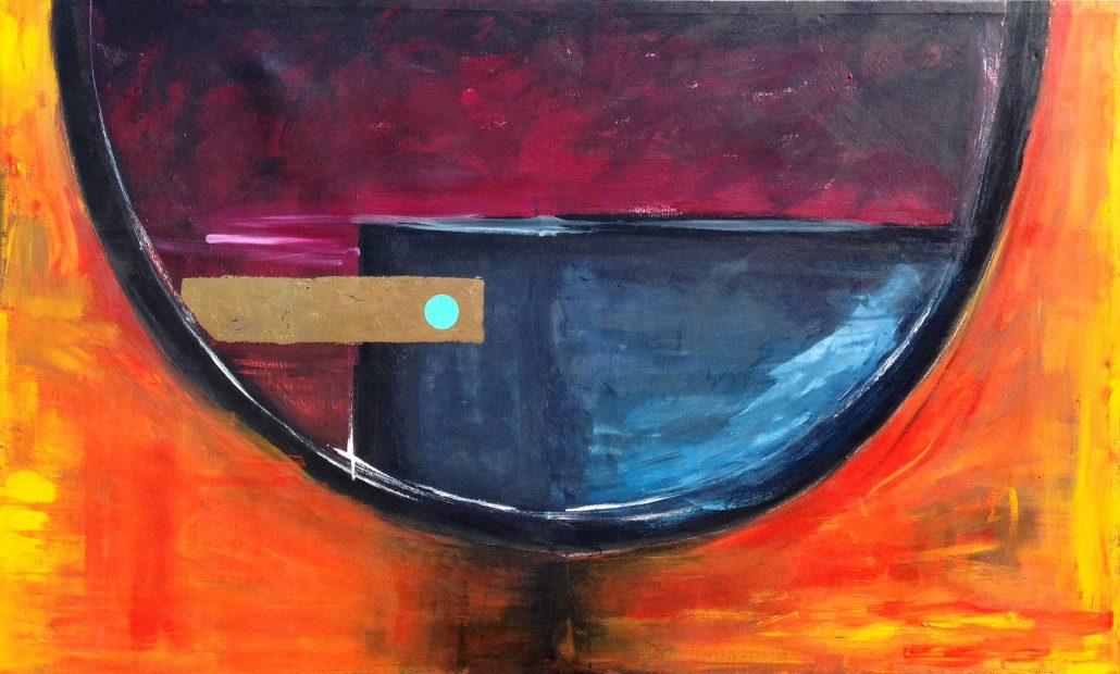Jane Hagan - Orange Circle Gold Leaf - Acrylic Canvas - Large