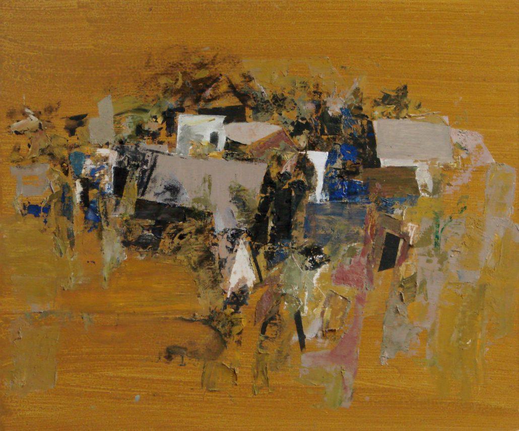 Paul Armitage - 6 Trega With Houses Orange - Oil Canvas - 55cm x 61cm - Cornish Galleries