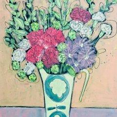 Buy Cornish Art Jo Salmon Jug Of Lime Leaves And Flowers Main