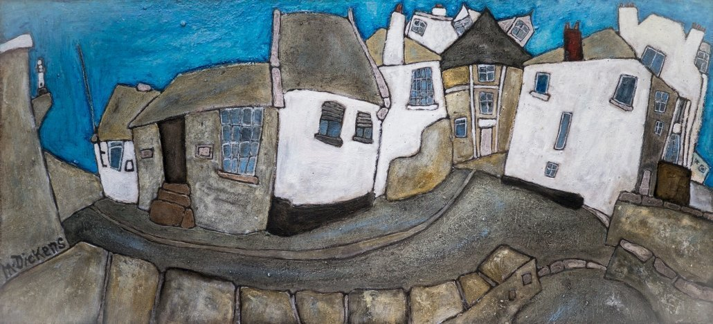 Buy Cornish Art Mark Dickens Street Scene Cornwall House