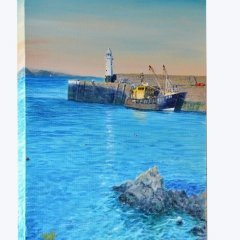 Buy Cornish Art Richard Cliff Mevagissey Evening Sunligh 2