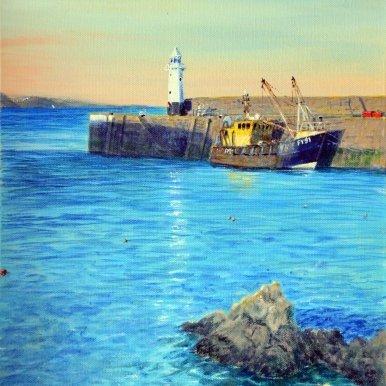 Buy Cornish Art Richard Cliff Mevagissey Evening Sunligh