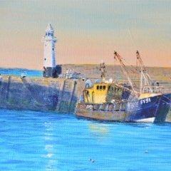 Buy Cornish Art Richard Cliff Mevagissey Evening Sunligh 5