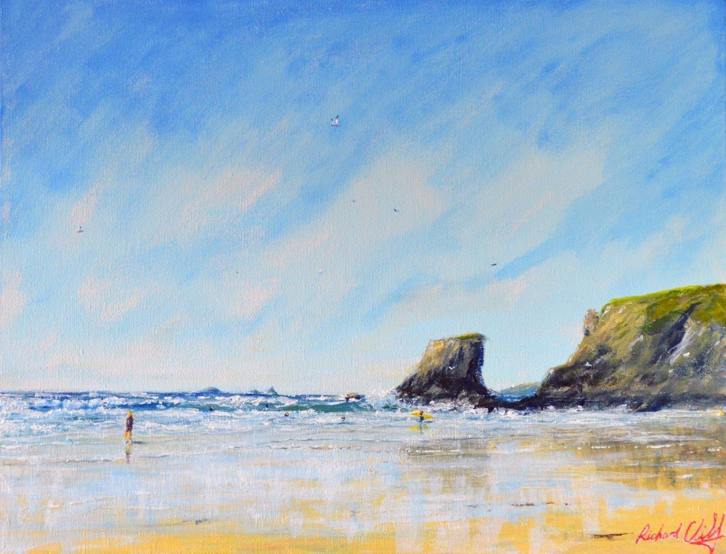 Buy Cornish Art Richard Cliff Porthcothan Low Tide