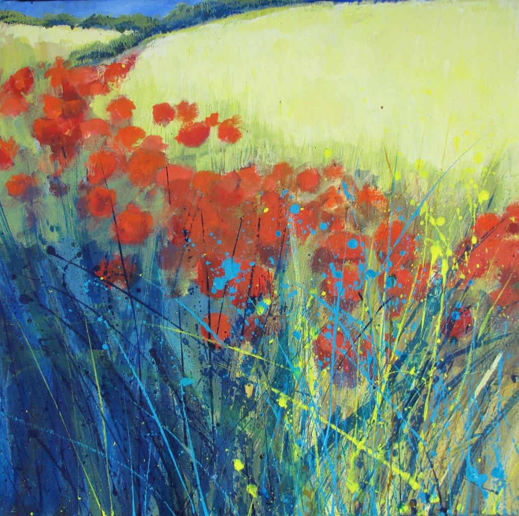 Buy Cornish Art Sally Basset Bright Poppies At The Edge Of The Wheat Field