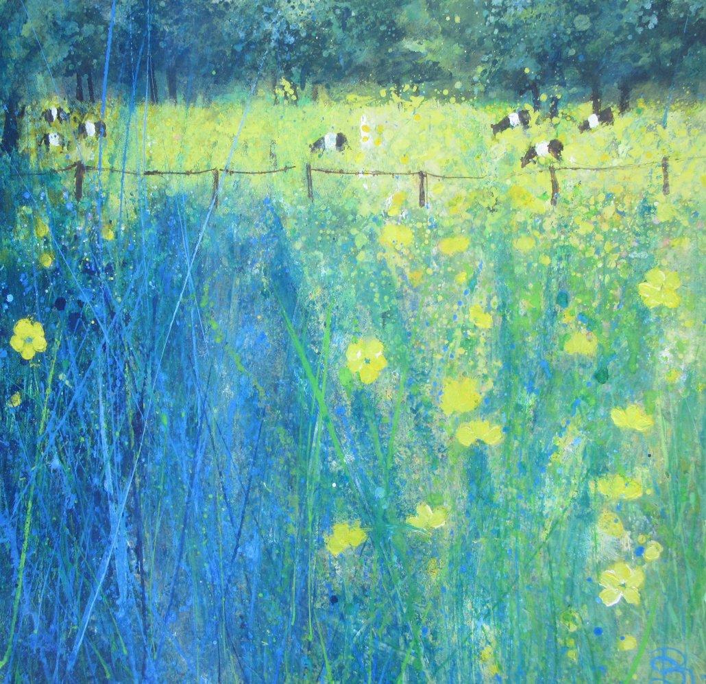Buy Cornish Art Sally Basset Lush Grass Buttercups And Cows. Acrylic On Canvas