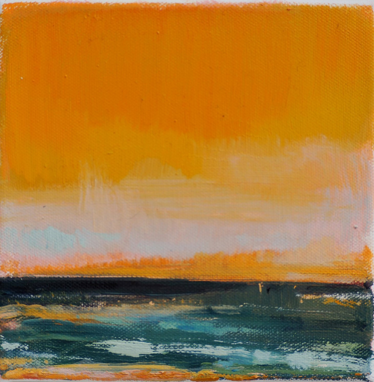Buy Cornish Art Victoria Gillow Scape In Teal And Gold