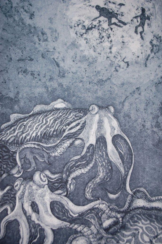 Buy Cornsh Art Beth Monro Cuttlefish And Divers2