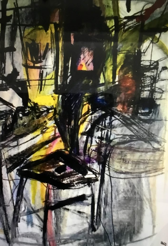 Judy Lusted Abstract The Chair Mixed Media Acrylic Charcoal Graphite Paper Large