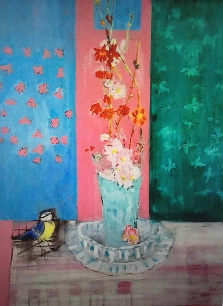 Judy Lusted Blue Tit Still Life Acrylic Paper Large