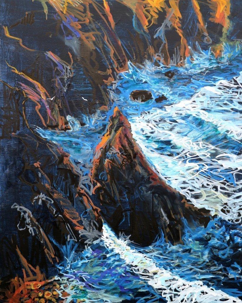 Tony Minnion Cligga Cove Acrylic Canvas Paper Large