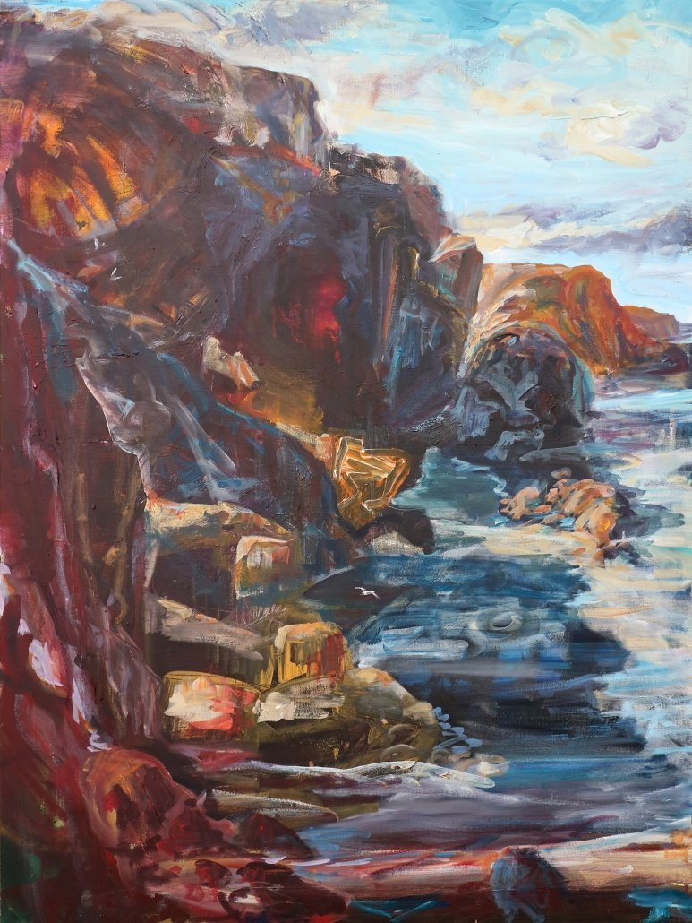 Tony Minnion North Cliffs Morning Light Acrylic Canvas Paper Sea Scape Cornwall Large