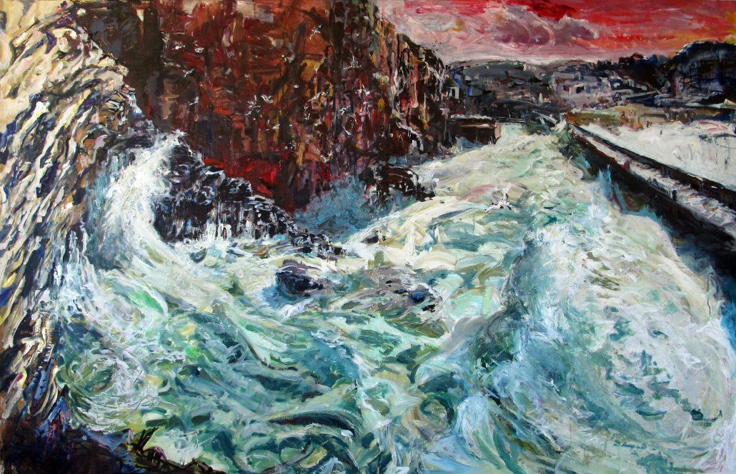 Tony Minnion Portreath Harbour Entrance Acrylic Canvas Paper Large